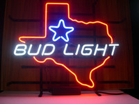 Red Night Bar  NEW BUD LIGHT TEXAS BEER LAGER REAL GLASS NEON LIGHT BEER BAR PUB SIGN