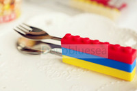 Wholesale cute gift for kid silicone stainless steel toy brick spoon fork knife colorful dinnerware