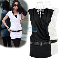 Wholesale Holiday Sale Korean Womens Sleeveless V neck Mini Dress Shirt With Belt Casual Summer Dress Black White