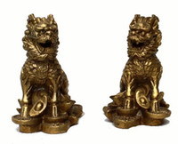 brass statue - China Chinese Fengshui Brass animal Door Kylin Chi lin Qilin wealth Statue Pair