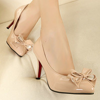 Women other other 2013 gentlewomen bow single shoes sweet pointed toe heels women's thin high-heeled shoes japanned leather nude color