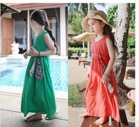 Girl Princess Long Dress Veste d'enfant Robe de soirée Adorable robe de plage verte rouge marron noir Summer mother and daughter clothes 3270