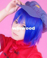 Wholesale Sailor Moon Sailor Mercury Dark blue short straight Heat Resistance Hair Cosplay Costume Wig Classic Cos Wig