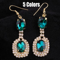 Wholesale new Classic design colors blue gree Gem rhinestone Crystal Glass drop earrings jewelry fro women