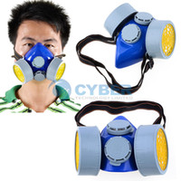 TK0858# Gray PVC Cheap Double Gas Mask Protection Filter Chemical Gas Respirator Face Mask Dropshipping TK0858