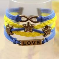 Бесплатная доставка ! Любовь браслет браслет Бесконечность Starfish браслет любовь Charms Корейский Wax Cord регулируемый браслет Стиль