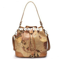 Messenger Bags Handbags Yes 2014 Cow Genuine Leather Women's Geo World Map Shoulder Bucket Drawstring Tan Crossbody Brand Handbag Bag Fashion Designer Item
