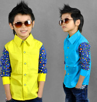 Wholesale Blast wave spring new children s clothes boys cotton long sleeved shirt Korean hit color models fall Tong