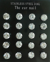 Wholesale L Stainless Steel Prongs Sparkling mm mm ct ct Round Cubic Zirconia Diamond CZ Stud Earrings pairs