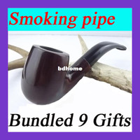 Cheap Smoking pipe briar cigarette holder Mahogany tobacco pipes 9mm filter cartridge + 9 fittings + Free shipping