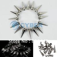 Wholesale 20pcs mm Silver Metal Bullet Rivet Spikes Stud Punk Bag Belt Leathercraft Accessories DIY