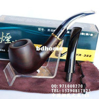 Cheap Lobular red sandalwood smoking pipe Large solid wood tobacco pouch handmade double handle briar Drop Shipping