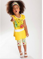 Girl Summer Short 2014 New Style Fruit Yellow Casual Short Sleeve Shirt Tops + Pirate Shorts + Headbands 3pcs Children Girls Summer Set B3247