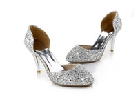 Formal Pumps Kitten Heel 2014 Newest Wedding Shoes Silver Gold Glitter Pointed Party Prom Bridesmaids Shoes EM00547