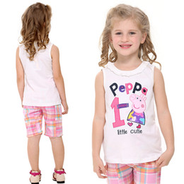 Wholesale 2014 Hot Selling Cartoon Peppa Pig Girls Tank Tops Baby Ruffled Neckline Vest Sleeveless For Summer Tops Kids Cotton Clothing Nova N4532