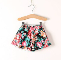 Wholesale 2014 Summer Flowers Printed Fashion Children Girls Shorts Floral Kids Pants For Years Popular Baby Girl Frill Trousers B3251