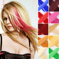 Wholesale pc New quot Highlight Straight Colored Colorful single Clip On In synthetic Hair Extension Hair piece