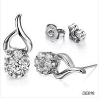 Wholesale New Korean jewelry rhodium earrings Diamond earrings DE016 Ms
