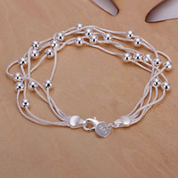 Wholesale H234 Retail lowest price silver bracelet silver fashion jewelry Five Line Gloss Ball Bracelet