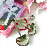 Wholesale Factory Stainless steel coffee spoons Love Measure heart shaped A set of pieces Heart Measuring Spoons in Gift Box Pink Wedding Favor