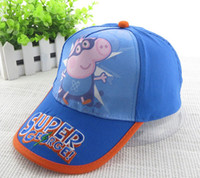 Wholesale Europe Hit Cartoon PEPPA PIG Baby Children Boys Hat Supermen Version Peppa George Hats SUPPER GEORAGE Printed Caps Child Kids Cap F0248