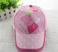 Wholesale Pink PEPPA PIG Children girls Birthday Presents Cute Cartoon Hats Europe Princess Star Pig Child Toddler Kids Kid Baby Girl Caps Cap F0249