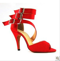 Wholesale New Red Latin dance shoes heeled adult women Latin dancing wear soft bottom shoes jazz ballroom women adult wear dance shoes