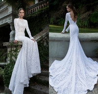 Wholesale Berta Mermaid Sheer Bateau Long Sleeve Sash Backless Chapel Train White Lace Designer Bridal Gowns Vintage Wedding Dresses DL1311188