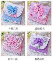 Cotton and linen Admission package sanitary napkins Eco Friendly Wholesale - Free shipping!Lovely Cute lace bow napkin bag sanitary Sanitary napkins package Cotton Fold bag pouch
