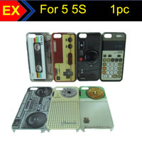 Wholesale 1PC Hot New Retro Cassette Tape Game Machine Gamepad Camera Calculator Radio Hard Plastic Cover Case for Iphone G S IP5