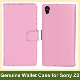 Wholesale New Arrive Genuine Leather Wallet Case for Sony Xperia Z2 Folding Flip Cover Case for Sony Xperia Z2 Free Shipping