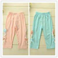 Wholesale Baby Girls Lace Patched Flowers Petal Ribbon Bow Kids Leggings Pink Blue Children Elastic Plain Cotton Tights Pants B3259