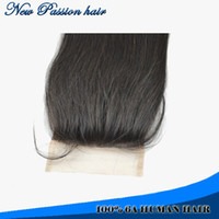Cheap top silk base closures 100% brazilian human hair lace size 4*4 bleached knots freestyle straight swiss lace
