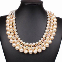 Wholesale Latest Bubble Bib Statement Necklaces Lady Golden Alloy Faux pearl Choker Necklace for Party Jewelry Gifts PC GHC