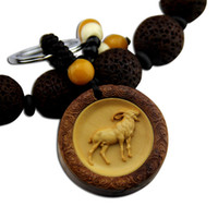 Wholesale High grade wood carved rosewood inlaid boxwood carvings zodiac zodiac sheep safely Keychain