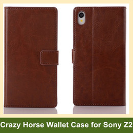 Wholesale Fashion Crazy Horse Pattern Wallet Case for Sony Xperia Z2 PU Leather Folding Flip Cover Case for Sony Xperia Z2 Free Shipping