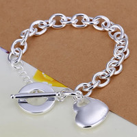 Wholesale H275 Retail lowest price silver bracelet silver fashion jewelry Heart in Heart TO bracelet