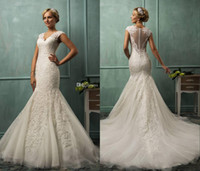 Trumpet/Mermaid Reference Images V-Neck New Amelia Sposa 2014 V-Neck Cap Sleeve Lace Tulle Mermaid Wedding Gowns Appliques Fit Flare Sheer Button Charming Bridal Wedding Dresses