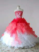 Wholesale New Flower Girl Dress White Red Organza Ruffles Applique Beaded Lace Up Back Junior Bridesmaid Dresses Long Flower Girls Dresses F13123