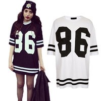 Work Mini Women Fashion 2014 Womens Celebrity Oversized 86 American Baseball Tee T-shirt Top Varsity Short Sleeve Loose Dress Black White