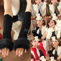 Wholesale 2014 New Fashion Women Ladies Winter Faux Rabbit Fur Knitted Warm Fingerless Gloves Wrist Hand Warmer fx214
