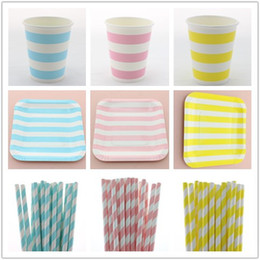 Disposable Striped Party Products Paper Plate Paper Straw Paper Cup Dinner Set TablewareYellow Red Green Blue Black Pink For Party Christmas