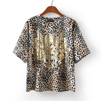 Women Polyester Round 2014 Sexy Leopard Gold Printing Fashion T-shirt Loose Casual Women's T-Shirt Lady Blouse Spring Clothing