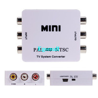 Wholesale MINI TV System Video Converter PAL TO NTSC NTSC TO PAL converter adapter with power adapter