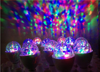 Wholesale DHL free NEW W E27 RGB Full Color LED Crystal Stage Light Auto Rotating Voice Control Stage Effect DJ lamp Stage Light Bulb Globe ball