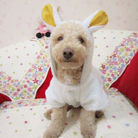 Wholesale Pet Puppy Dog Clothes Cute White Sheep Warm Hoodie Coat Apparel Cute Furry clothes All Season Style
