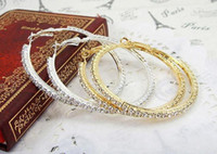 Wholesale Sterling Silver Earring Jewelry Extra Large Shining CZ Stone Silver Round Hoop Basketball Hoop Earrings