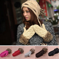 Wholesale 1Pair Hang Neck Winter Mittens Knitted Warm Fur Gloves for Women