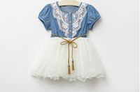 Wholesale 2014 New Children Clothing Good Quality Denim Net Yarn Girl Sweet Dress With Belt Short Sleeve Baby Kid s Princess Dress GX65