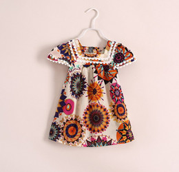 Wholesale 2014 Summer Soft Cloth Children Clothing Baby Dress Flower Painting Chiffon Girl Dresses Kids Girls Short Dress C1694